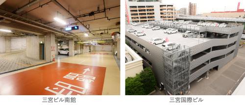 ゆとりの収容力を誇る駐車場